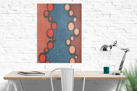 "Orange Ovals original drawing 18""x 24"""