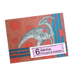 Parasaurolophus Note Cards, set of 6 blank cards with envelopes