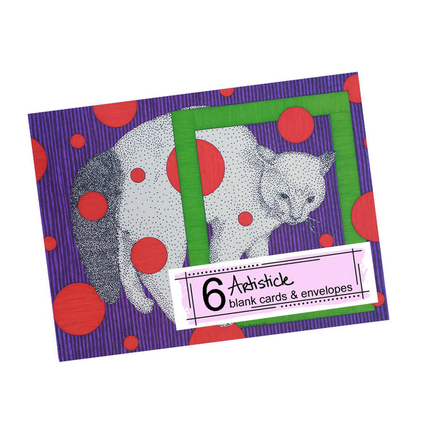 Puffy Cat Note Cards, set of 6 blank cards with envelopes