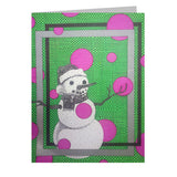 Pink Snowman 5x7 Greeting Card