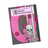 Pink Skull Alphabet Note Cards, set of 6 blank cards with envelopes