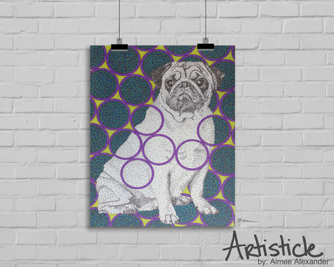 Pug dog signed art print