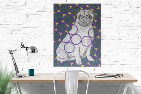 "Pug dog original drawing 18""x24"""