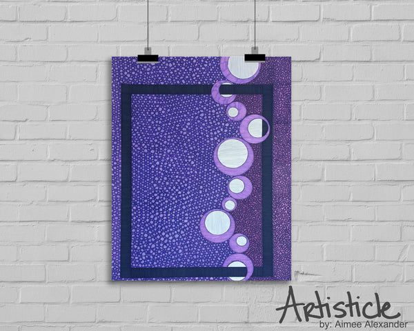 Purple signed geometric art print