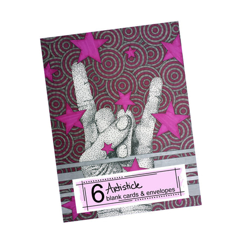 Rock Star Note Cards, set of 6 blank cards with envelopes