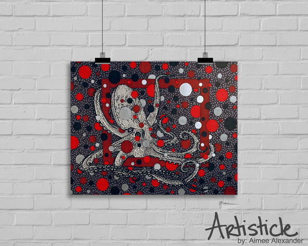 Red Octopus signed art print
