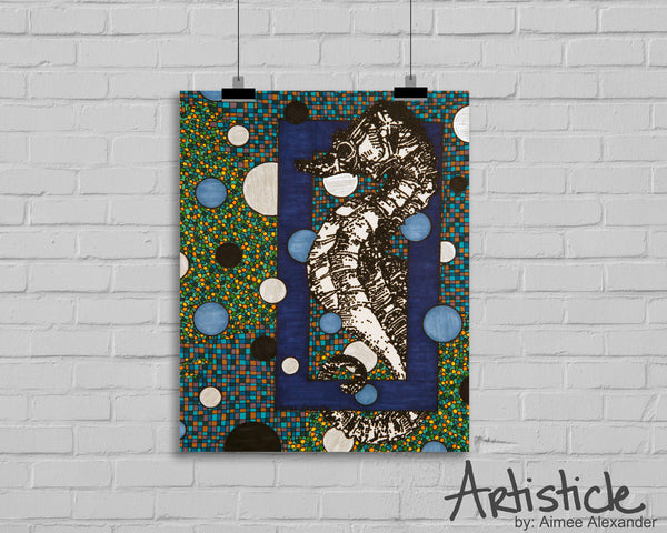 Seahorse signed art print