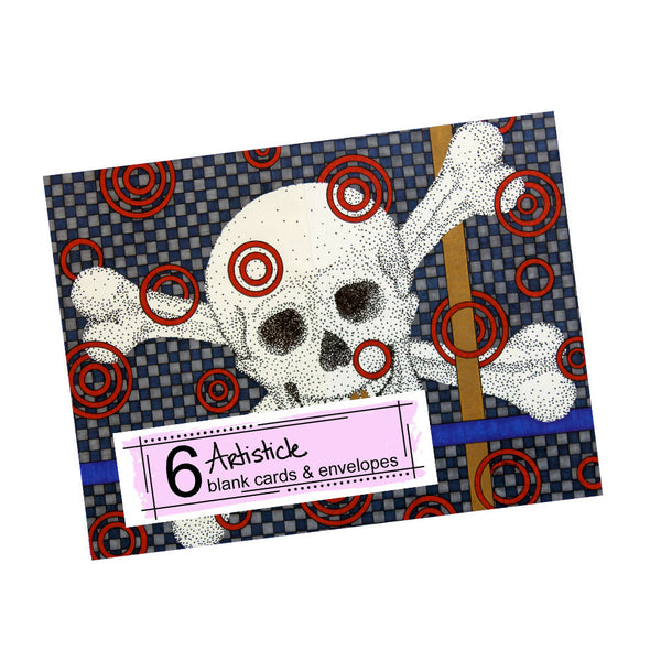 Skull Note Cards, set of 6 blank cards with envelopes