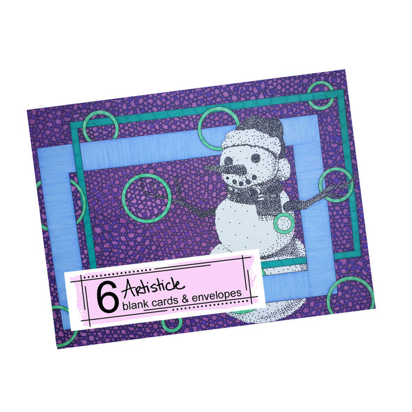 Snowman Note Cards, set of 6 blank cards with envelopes