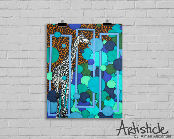 Tall Giraffe signed art print
