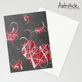Tangled Hearts Note Cards, set of 6 blank cards with envelopes