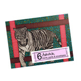 Tiger Note Cards, set of 6 blank cards with envelopes