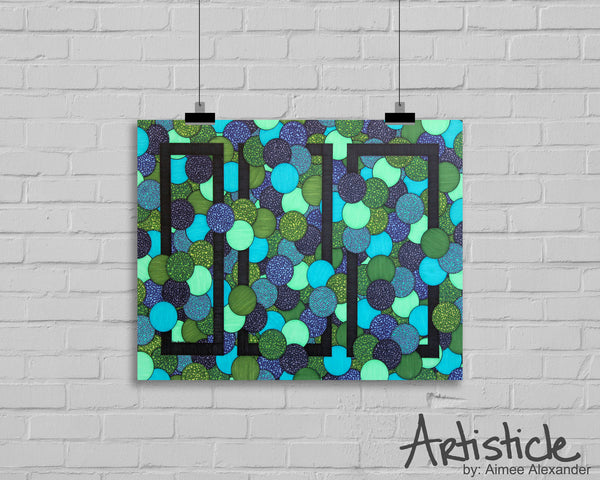 Three signed geometric art print