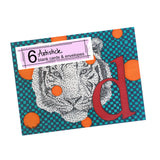 Tiger Monogram Note Cards, set of 6 blank cards with envelopes