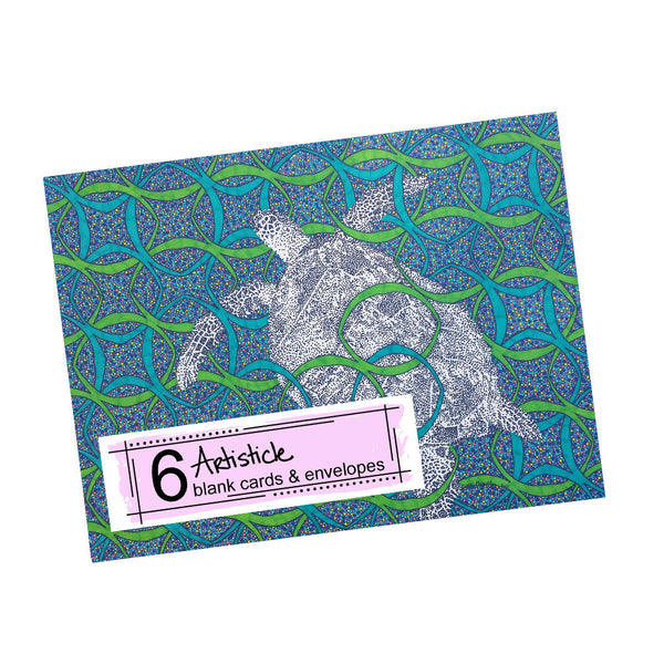 Turtle Note Cards, set of 6 blank cards with envelopes