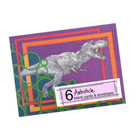 T Rex Note Cards, set of 6 blank cards with envelopes