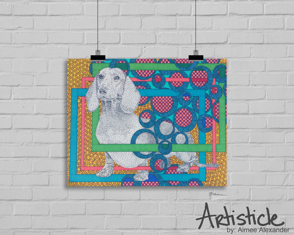 Weenie Dog Signed Art Print