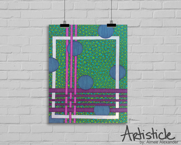 Weave signed geometric art print