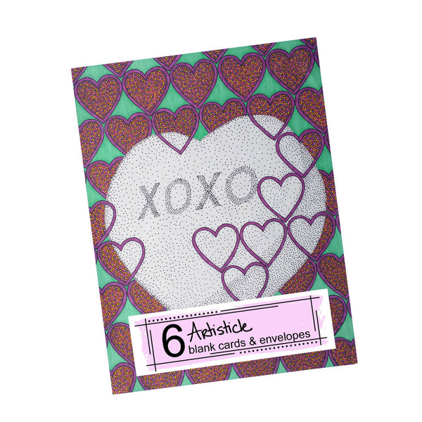 Candy Heart XOXO Note Cards, set of 6 blank cards with envelopes
