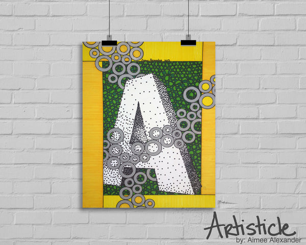 3D Monogram Yellow Green Alphabet signed art print, letters A-Z available