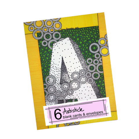 3D Alphabet Letter Note Cards, set of 6 blank cards with envelopes