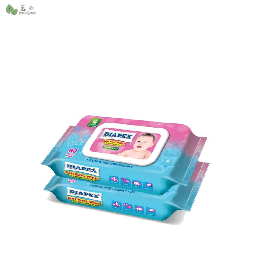 Diapex Soft Baby Wipes 80s (2 packs) - Bansan Penang