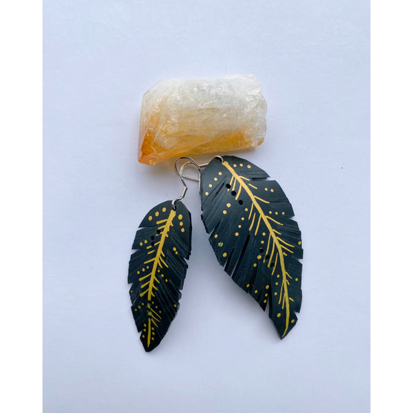 Up-Cycled Feather Earrings - White January