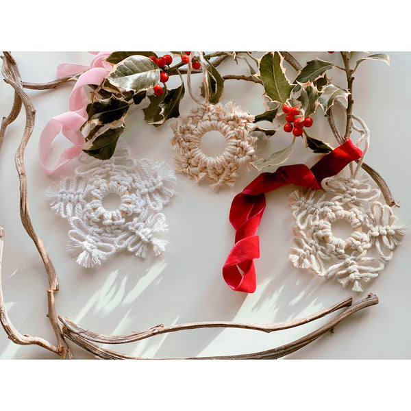 Macrame Christmas Snowflake Decoration - White January