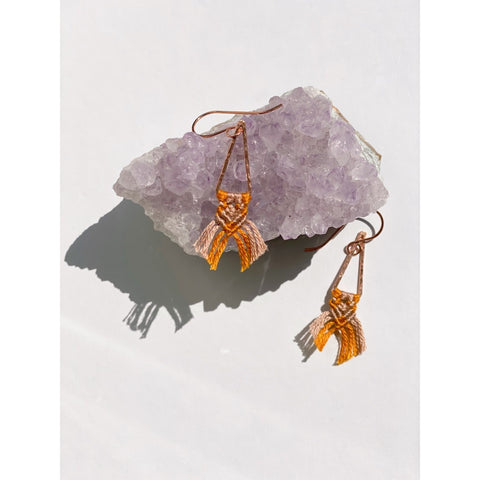 Copper Triangle Drop Macrame Earrings - White January