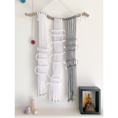 Circuit Macrame Wall Hanging - White January