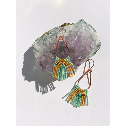 Copper Teardrop Macrame Earrings - White January