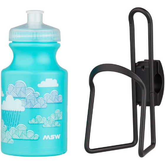 MSW - Kids Water Bottle and Cage Kit - Giraffe w/ Black Cage