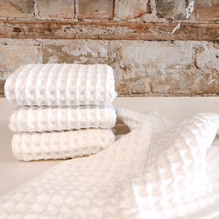White Waffle Knit Face Towel