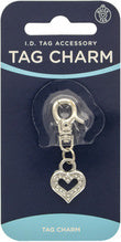 TAG CHARM SILVER HEART WITH CRYSTALS