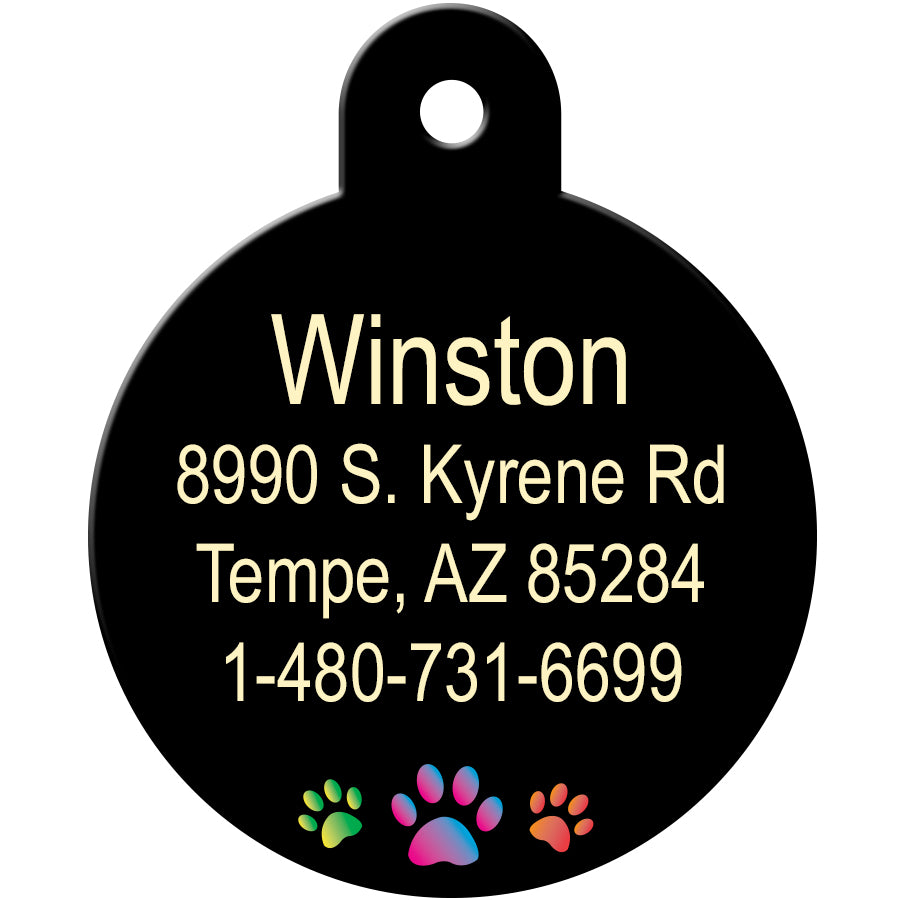 Multi Color Paws Pet ID Tag