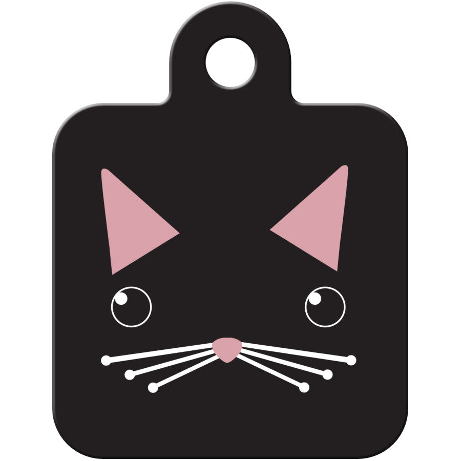 Cat Face Black Square Pet ID Tag