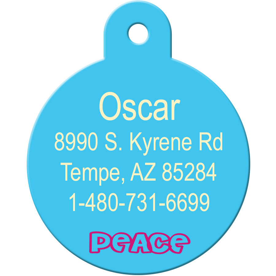 Tie Dye Peace Circle Pet ID Tag