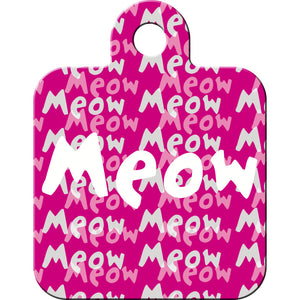 Meow Pink Square Pet ID Tag