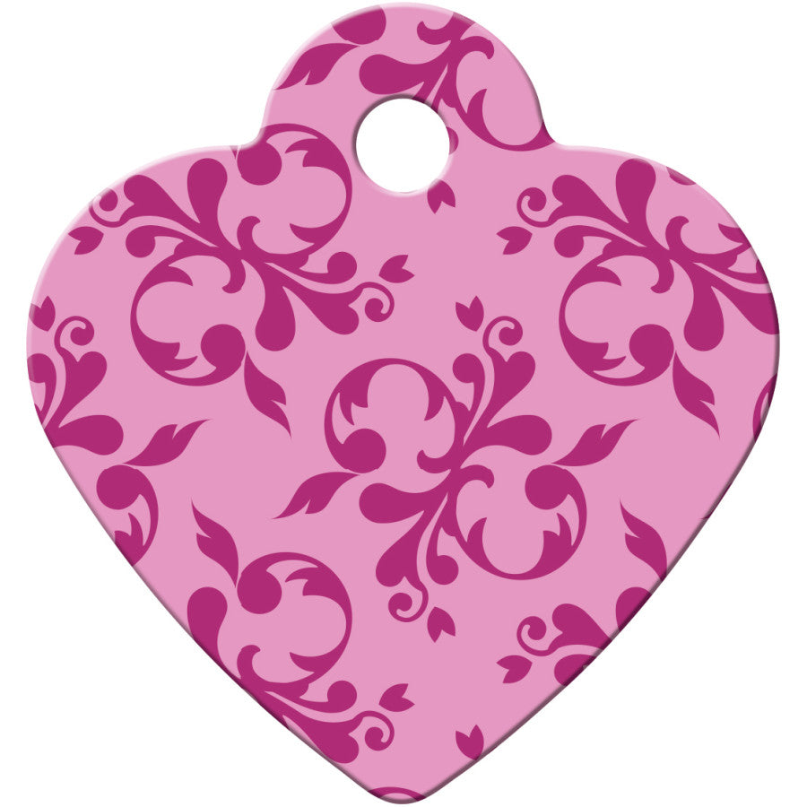 Pink Scroll Pet ID Tag