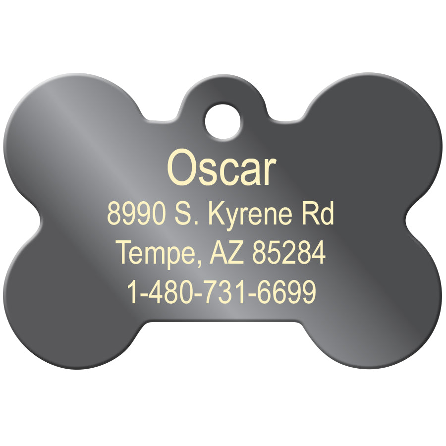 Yellow Reflective Bone Raised Edge Pet ID Tag