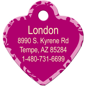 Pink Scroll Pet and Cat ID Tag