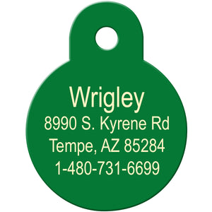 White Circle Shamrock Pet ID Tag
