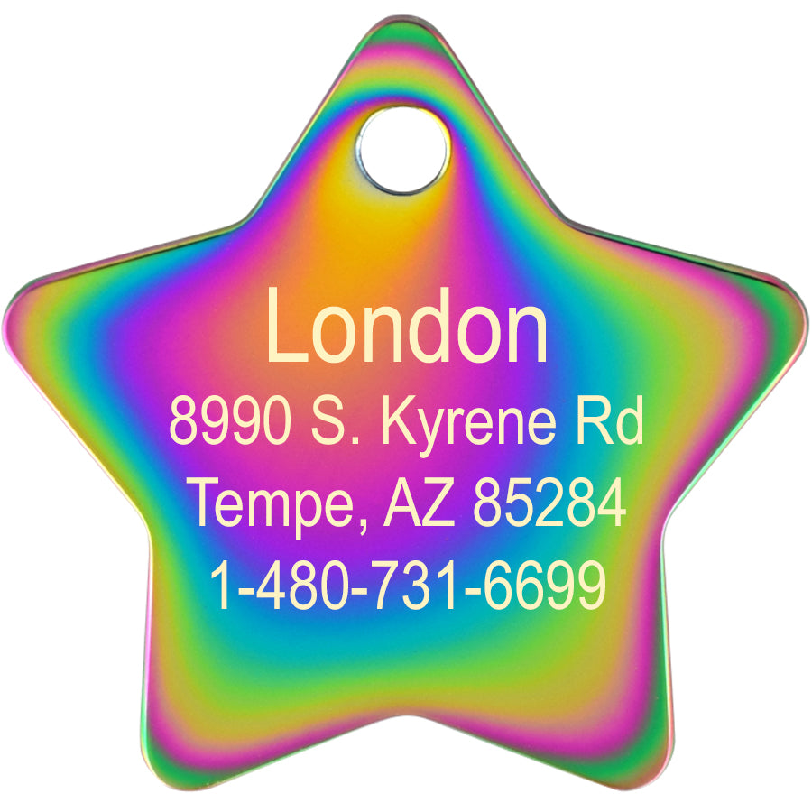 Star Shape Plated Brass Pet ID Tags