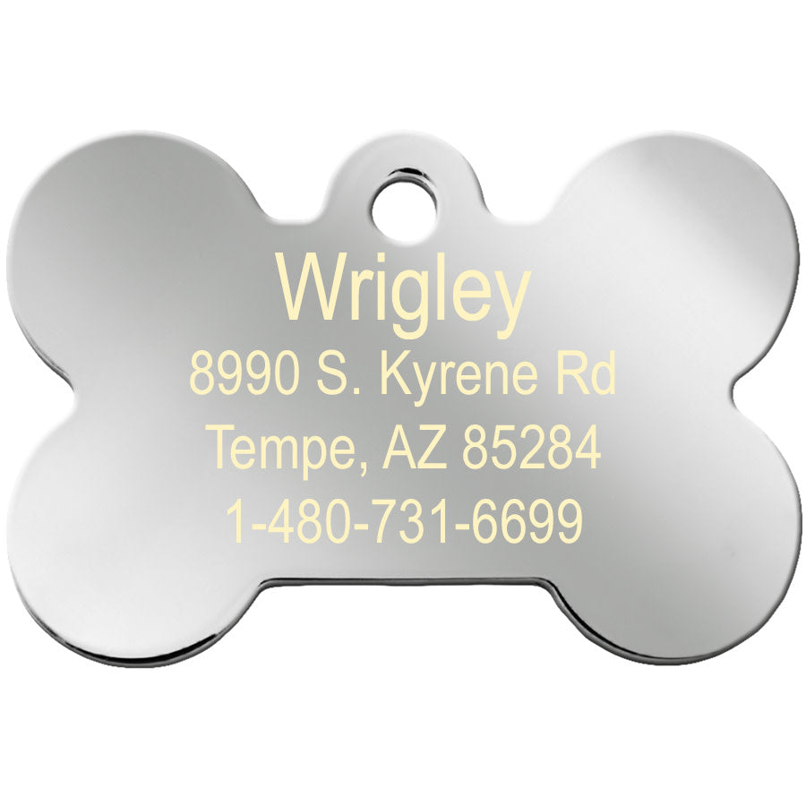 Bone Shape with Pave Crystals Pet ID Tags