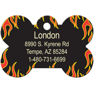 Orange Flames Pet ID Tag