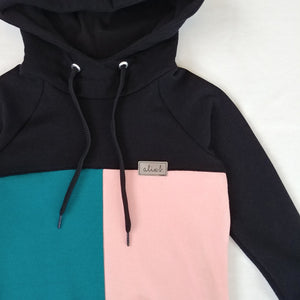 Hoodie color block rose et jade