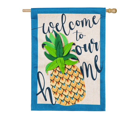 House Flag Welcome to Our Home Pineapple Burlap