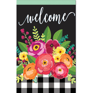 House Flag Floral Welcome Check Linen