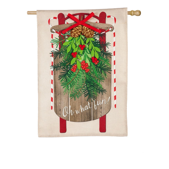 House Flag Vintage Sled Burlap