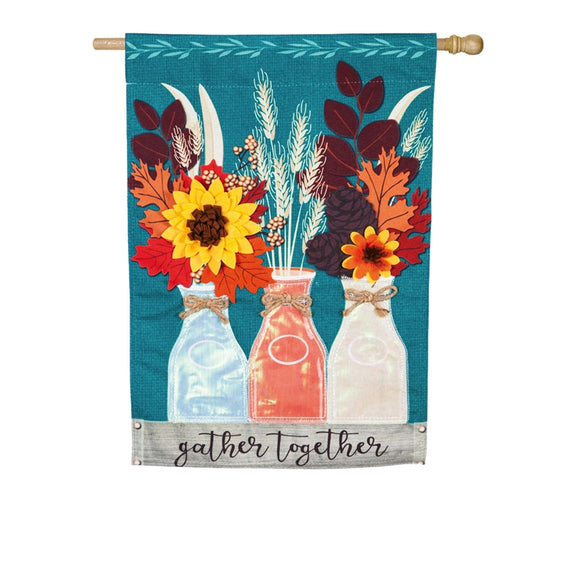 House Flag Autumn Milk Bottles Linen